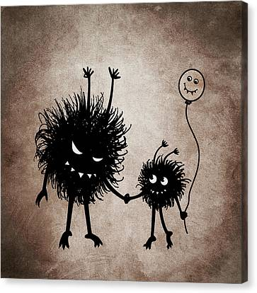 Evil Bug Mother And Child Canvas Print