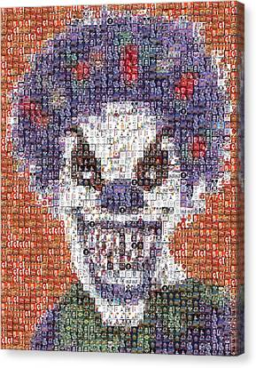 Canvas Print featuring the mixed media Evil Clown Mosaic by Paul Van Scott