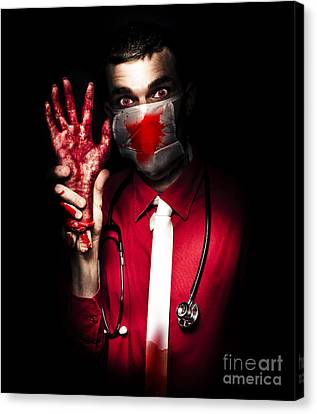 Evil Dark Medical Surgeon Waving Amputated Hand Canvas Print by Jorgo Photography - Wall Art Gallery