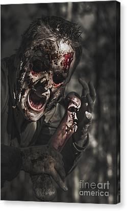 Evil Male Zombie Screaming Out In Bloody Fear Canvas Print by Jorgo Photography - Wall Art Gallery