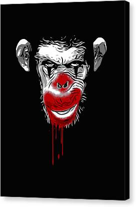 Chimpanzee Canvas Print - Evil Monkey Clown by Nicklas Gustafsson