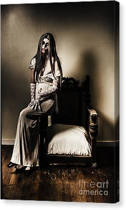 Evil Vampire Woman In Old Grunge Haunted House Canvas Print