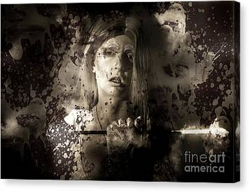 Evil Vampire Woman Looking Into Bloody Mirror Canvas Print by Jorgo Photography - Wall Art Gallery