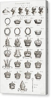 Examples Of Crowns, Coronets And Helmets Canvas Print