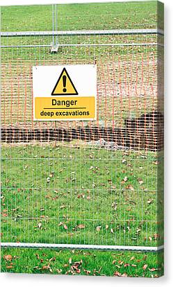 Excavation Sign Canvas Print by Tom Gowanlock