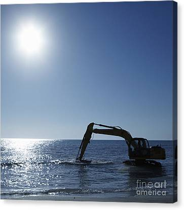 Excavator Digging In The Ocean Canvas Print by Skip Nall