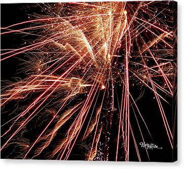 Canvas Print featuring the photograph Exciting Fireworks #0734 by Barbara Tristan