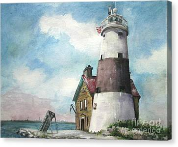 Canvas Print featuring the painting Execution Rocks Lighthouse by Susan Herbst
