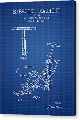 Exercise Machine Patent From 1953 - Blueprint Canvas Print by Aged Pixel