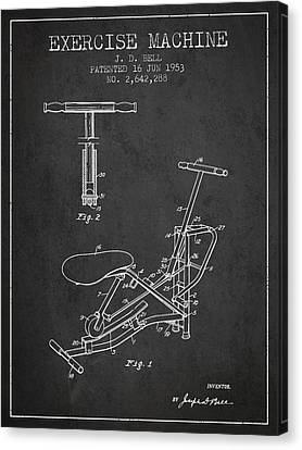 Exercise Machine Patent From 1953 - Charcoal Canvas Print