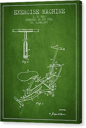 Exercise Machine Patent From 1953 - Green Canvas Print by Aged Pixel