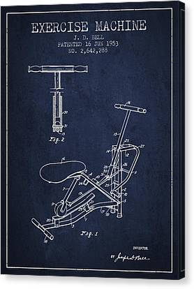Exercise Machine Patent From 1953 - Navy Blue Canvas Print