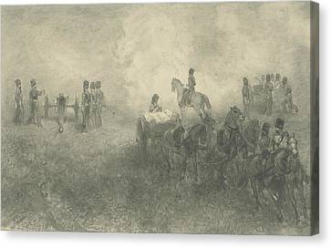 Exercises Of The Artillery In Milligen Canvas Print by Charles Rochussen