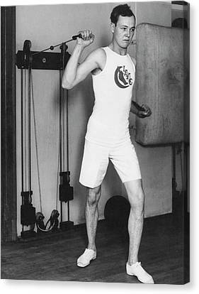 Young Man Canvas Print - Exercising With Weights 2 by Underwood Archives
