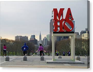 Exercizing At The Art Museum - Philadelphia Canvas Print by Bill Cannon