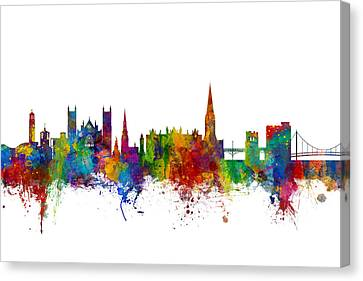 Exeter England Skyline Canvas Print by Michael Tompsett