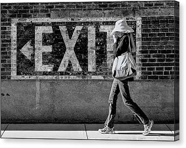 Exit Bw Canvas Print
