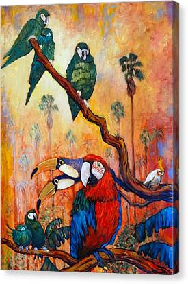 Canvas Print featuring the painting Exotic Birds Of South America  by Charles Munn