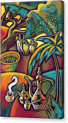 Canvas Print featuring the painting Exotic East, Coffee And Olive Oil by Leon Zernitsky