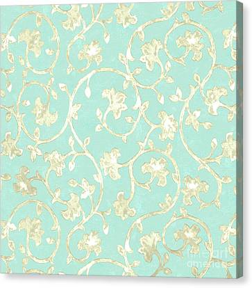 Popular Canvas Print - Exotic Golden Baroque Floral Damask Pattern, Robin's Egg Blue by Tina Lavoie