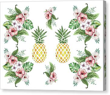 Canvas Print - Exotic Hawaiian Flowers And Pineapple by Georgeta Blanaru
