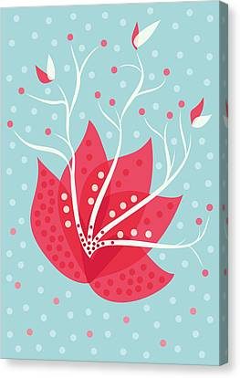 Exotic Pink Flower And Dots Canvas Print