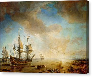 Expedition Of Robert Cavelier De La Salle  Canvas Print by Jean Antoine Theodore Gudin