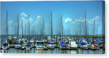 Expensive Toys 2 Sailboats St Simons Island Georgia Canvas Print by Reid Callaway