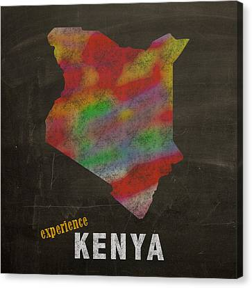 Experience Canvas Print - Experience Kenya Map Hand Drawn Country Illustration On Chalkboard Vintage Travel Promotional Poster by Design Turnpike
