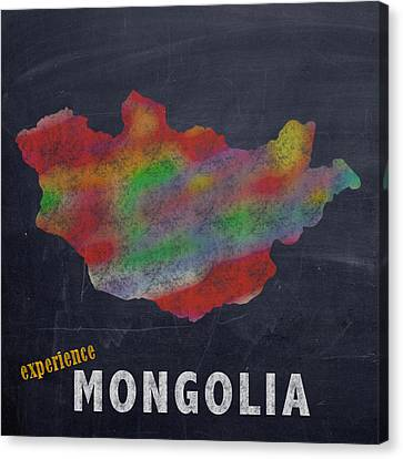 Experience Canvas Print - Experience Mongolia Map Hand Drawn Country Illustration On Chalkboard Vintage Travel Promotional Pos by Design Turnpike