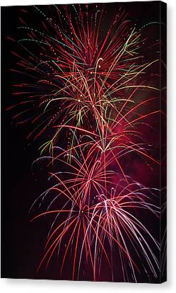 Exploding Festive Fireworks Canvas Print by Garry Gay