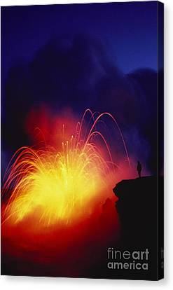 Exploding Lava And Person Canvas Print by Greg Vaughn - Printscapes