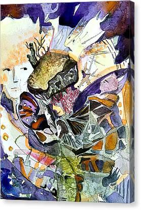 Exploiding Nut Canvas Print by Mindy Newman