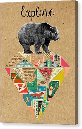 Explore Bear  Canvas Print by Claudia Schoen