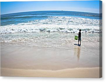 Beach Pails Canvas Print - Explore - The Secrets Of The Sea by Colleen Kammerer