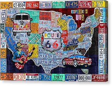 Explore The Usa License Plate Art And Map Travel Collage Canvas Print by Design Turnpike