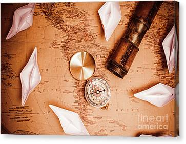 Navigation Canvas Print - Explorer Desk With Compass, Map And Spyglass by Jorgo Photography - Wall Art Gallery