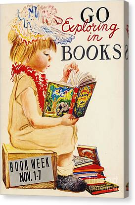 Canvas Print featuring the photograph Exploring Books 1961 by Padre Art