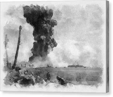 Explosion On Namur Island Wwii Canvas Print
