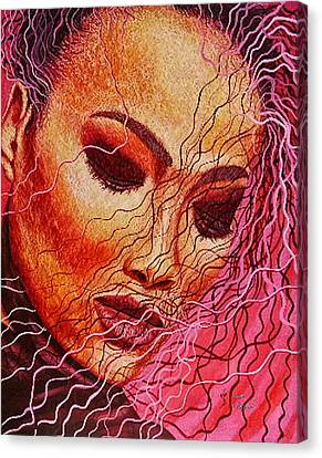 Expression In Hair Canvas Print by Shahid Muqaddim
