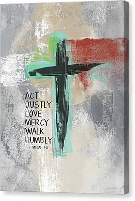 Religious Canvas Print - Expressionist Cross Love Mercy- Art By Linda Woods by Linda Woods