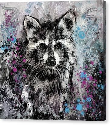 Raccoon Canvas Print - Expressive Raccoon by Jai Johnson