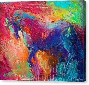 Impressionism Canvas Print - Expressive Stallion Painting By by Svetlana Novikova
