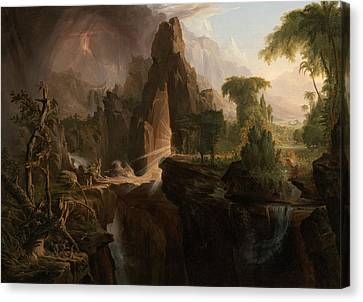 Expulsion From The Garden Of Eden Canvas Print by Thomas Cole
