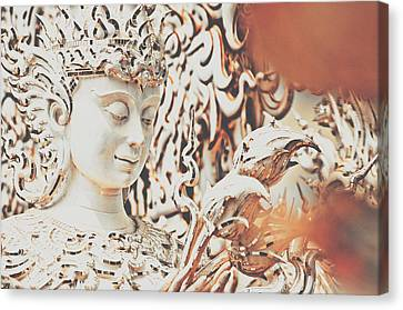 Srdjan Kirtic Canvas Print - Exquisite Design Detail Of A Meditative Deity-like Statue Carved Inside The White Temple In Thailand by Srdjan Kirtic