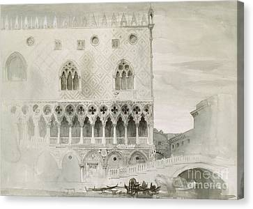 Exterior Of Ducal Palace, Venice, 19th Century Canvas Print by John Ruskin