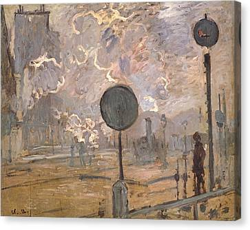 Exterior Of Saint-lazare Station, The Signal Canvas Print by Claude Monet