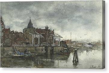 Exterior With The Schreierstoren In Amsterdam Canvas Print by Jacob Maris