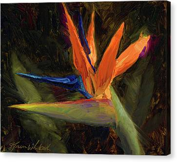 Canvas Print featuring the painting Extravagance - Tropical Bird Of Paradise Flower by Karen Whitworth