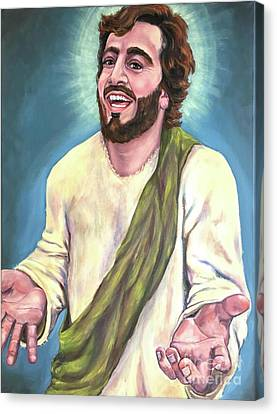 Smiling Jesus Canvas Print - Exulted-laughing Jesus  by Laura Napoli